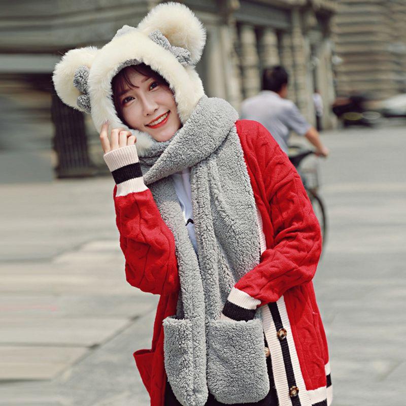 Womens Winter Plush 3 In 1 Warm Hat Cute Bowknot Bear Ears Hooded Scarf Gloves Y1AC