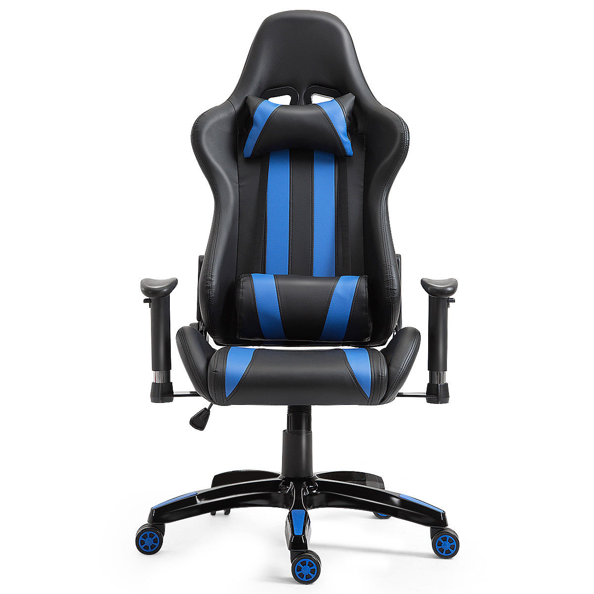 Costway Executive Racing Style High Back Reclining Chair Gaming Chair Office Computer (Black+Blue)