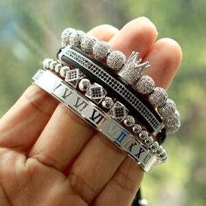 Image 2 - Hommes Bracelet bijoux 4 pièces/ensemble couronne breloques macramé perles Bracelets tressage homme luxe bijoux pour femmes bracelet cadeau
