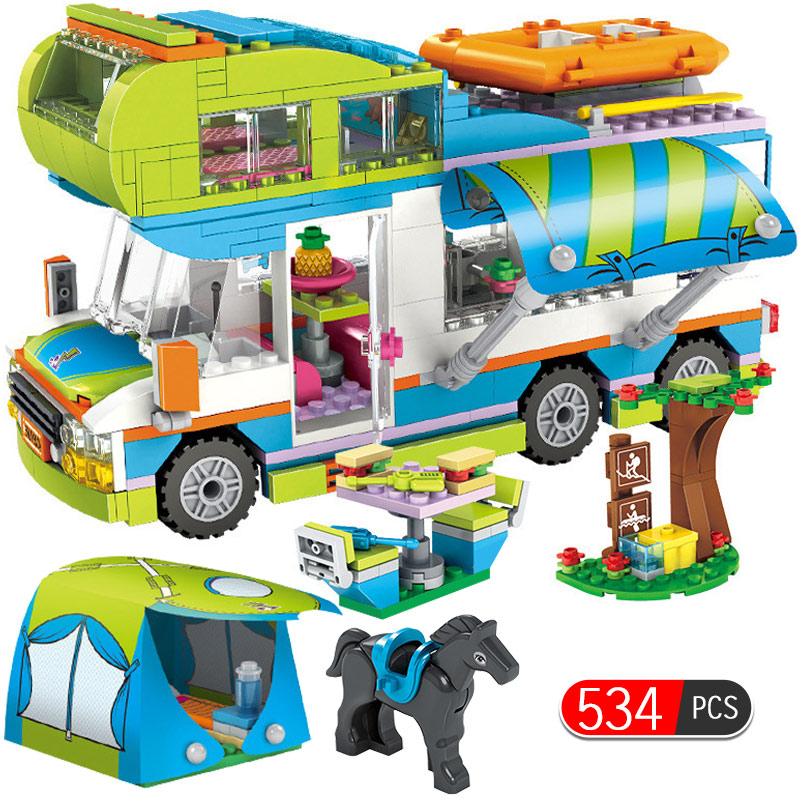 534pcs City Outing Camper Bus Car Girls Figures Building Blocks Compatible Legoinglys Friends Bricks Educational Toys For Girls