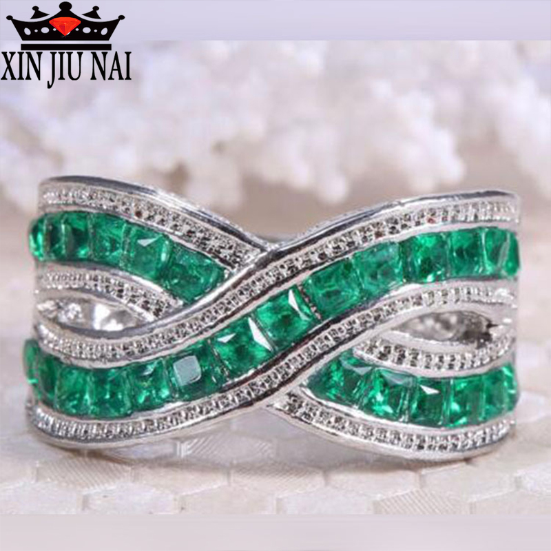 For Women Green Small Stone Rings Jewelry Wedding Engagement Gift Luxury Inlaid Stone Ring Cubic Zirconia Emerald 925silver Ring