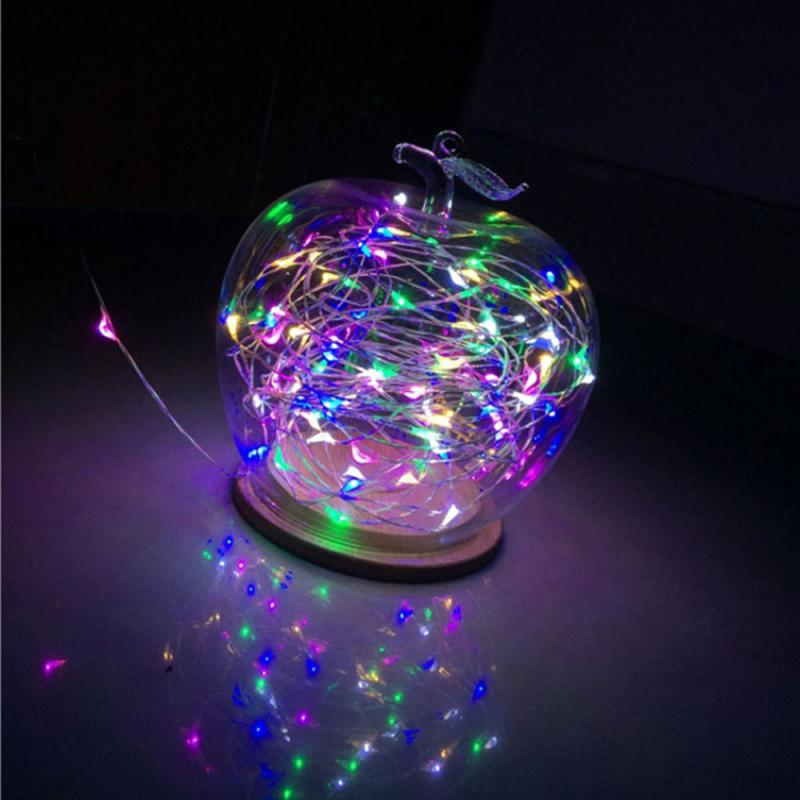 OOBesT 1M String Light 10 LED Beads Lighting String Colorful Copper Wire New Year Christmas Tree Wedding Party Decoration 5