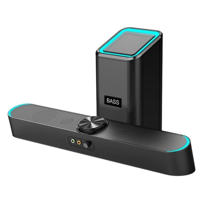 D-238 Bluetooth Sound Bar Wireless Speaker Bass Subwoofer 4D Stereo Knob Desktop PC Computer 3.5MM Watch Movies