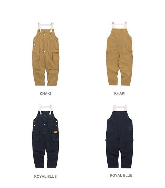 2020 New Cotton Men's Pockets Buttons Loose Bib Overalls Hip Hop Suspenders Jumpsuits Coveralls Blue Khaki Men's Shorts 3