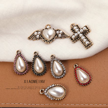 2pcs 2019 new design vintage ancient gold pearl heart-shaped wings cross water drops  earrings for women diy jewelry accessories