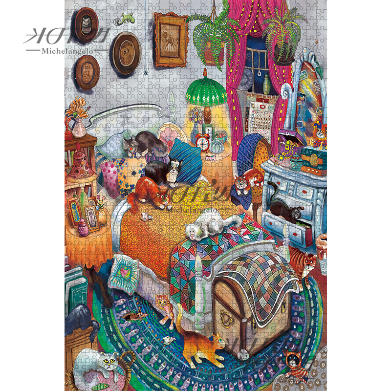 Michelangelo Wooden Jigsaw Puzzle 500 1000 1500 2000 Pieces Cat's Bedroom Cartoon Animals Kid Educational Toy Painting Art Decor