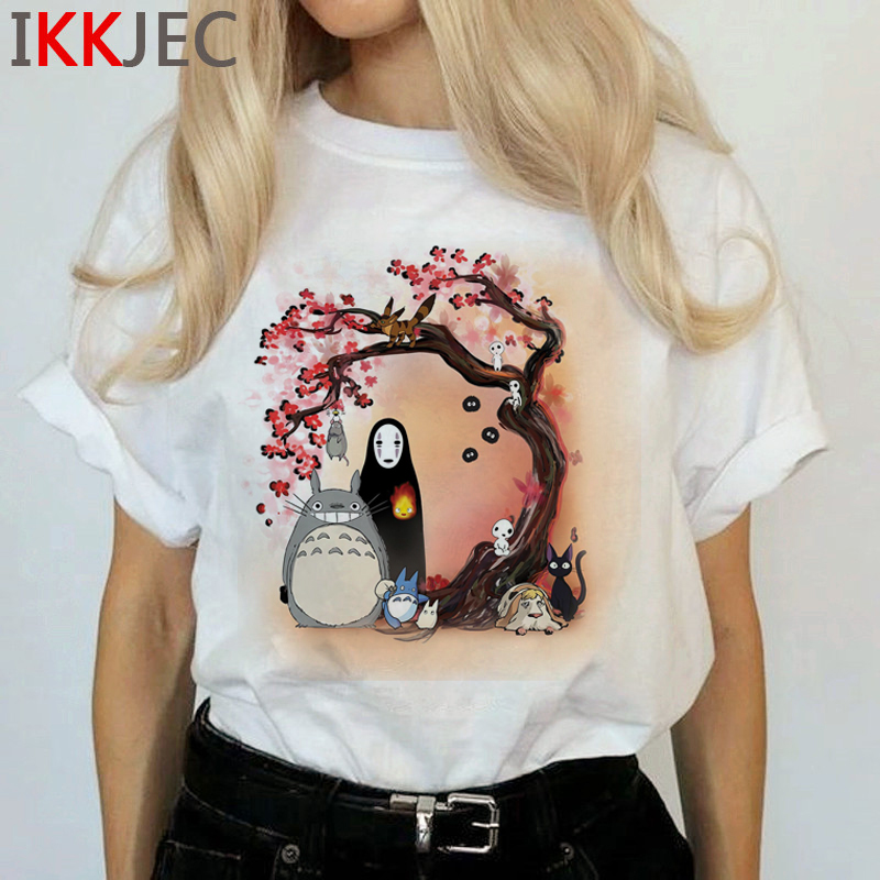 Totoro Harajuku Studio Ghibli T Shirt Women Miyazaki Hayao Ullzang Cute T-shirt Funny Cartoon Tshirt 90s Graphic Top Tees Female 27