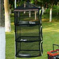 Outdoor Drying Rack Net 4 Layer Collapsible Mesh Hanging Vegetable Fish Dryer With Zipper For Camping Fishing