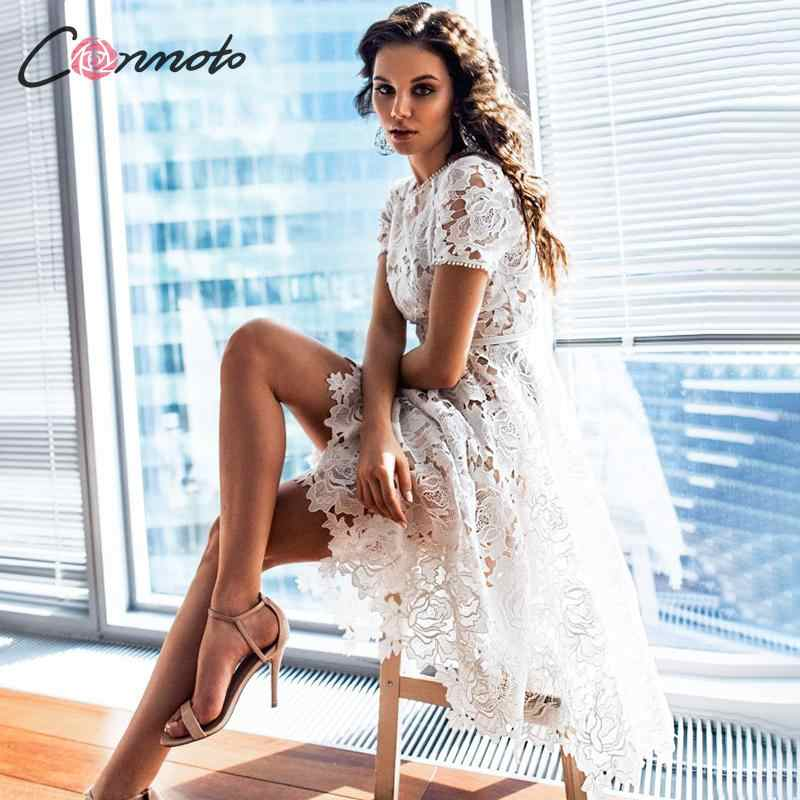 Conmoto Women Elegant White Embroidery Mid Dress Female Fashion High Waist Hollow out Short Sleeve Dress Party Vestido Plus Size