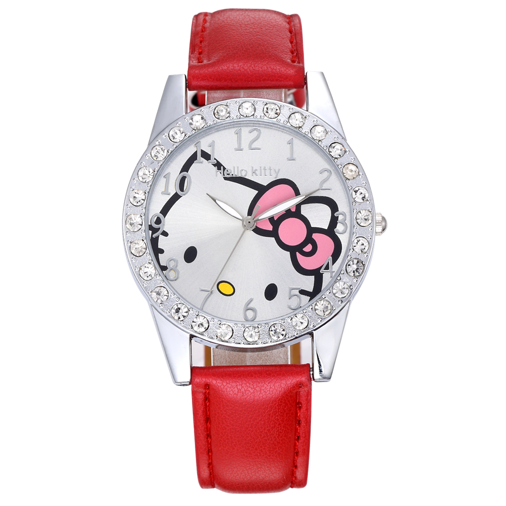 Ladies Fashion Simple Watches Top Luxury Brand  Kitty Leather Strap Quartz Watch Woman Casual Girl Gift Clock Reloj Mujer Enfant