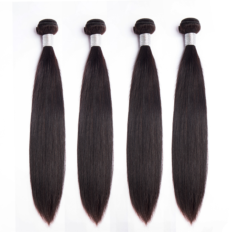Alibele Peruvian Straight Hair Bundles 100% Human Hair Weave 4 Bundles Deals Natural Color Full Cuticle Remy Hair Extension