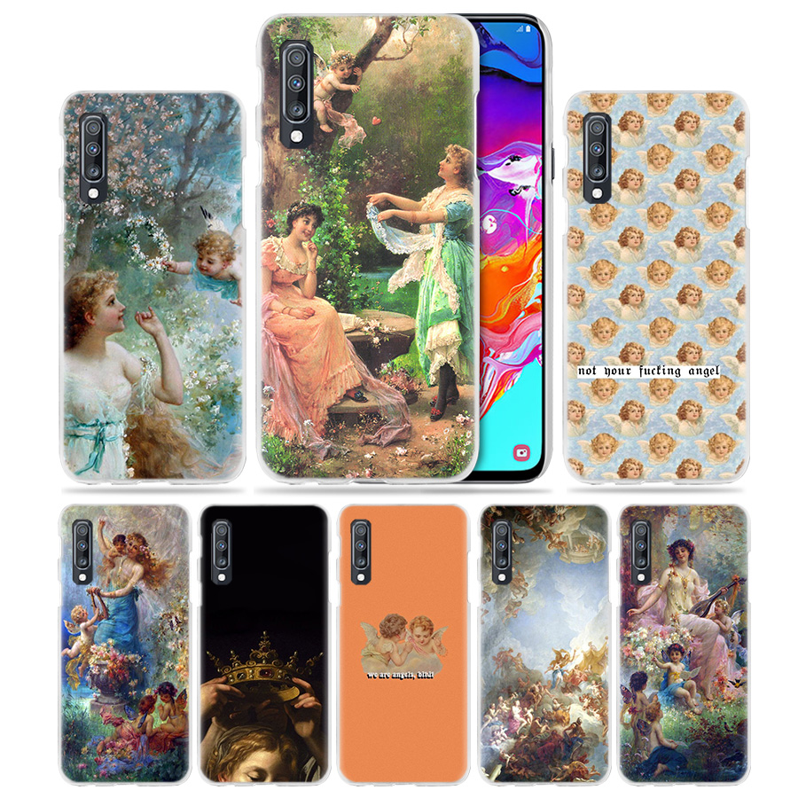 Angel Cupid Art Paint Case for Samsung Galaxy A50 A70 A20e A40 A30 A20 A10 A8 A6 Plus A9 A7 2018 Hard Clear PC Phone Coque Cover image