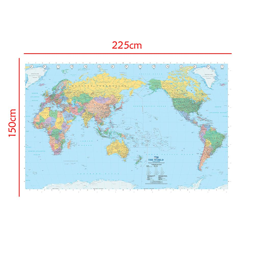 150x225cm The World Map Pacifac Centred Without National Flag Non-woven Waterproof World Map For Culture And Education