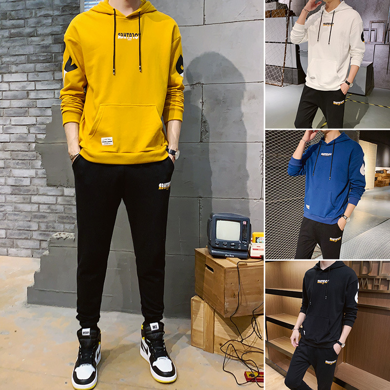 Hoodie Men Leisure Set Autumn Two-Piece Set New Style Trend Men's Hooded Youth Popular Brand Sports Set Men's