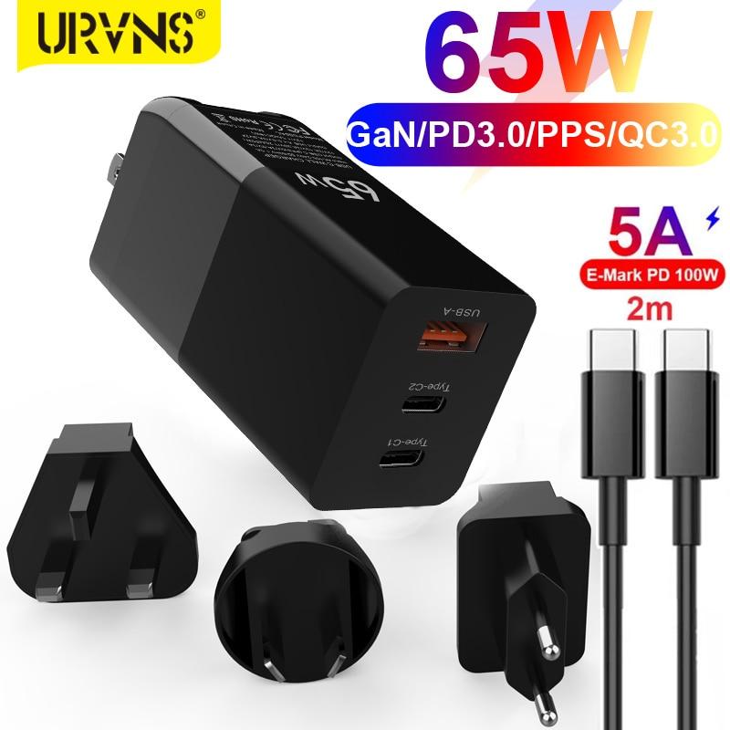 Зарядное устройство URVNS, 65 Вт, GaN USB C PD, Quick Charge 3,0 QC3.0 PPS SCP AFC USB-C Type C, быстрое зарядное устройство USB для Macbook Pro, iPhone, Samsung