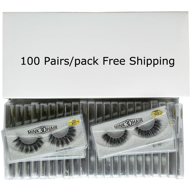 Wholesale Eyelashes 20/30/50/100 Pairs 3D Mink Lashes Natural False Eyelashes Hand Made Makeup Eye Lashes 3D Mink Eyelashes Bulk 2