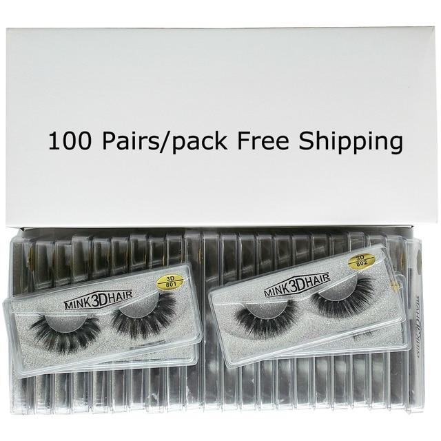 Wholesale Eyelashes 20/30/50/100 Pairs 3D Mink Lashes Natural False Eyelashes Hand Made Makeup Eye Lashes 3D Mink Eyelashes Bulk 2