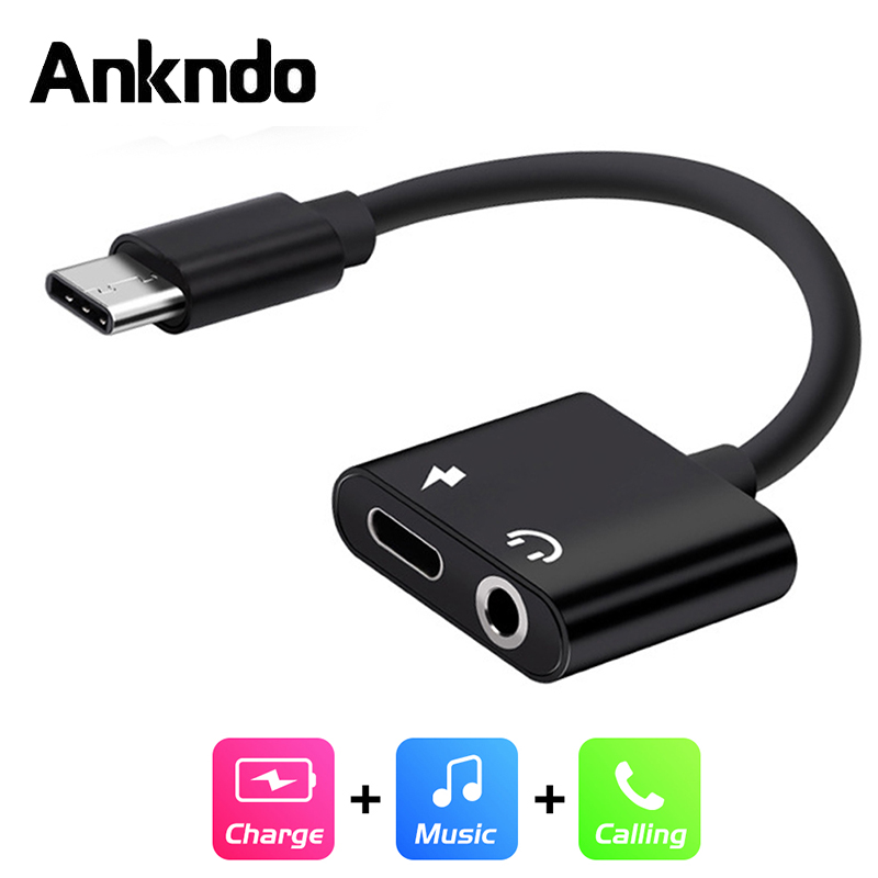 ANKNDO 3in1 USB Type C To 3.5mm Jack Adapter USB C Converter Type C Fast Charge Adaptor AUX Audio Music Earphone Cable Connector
