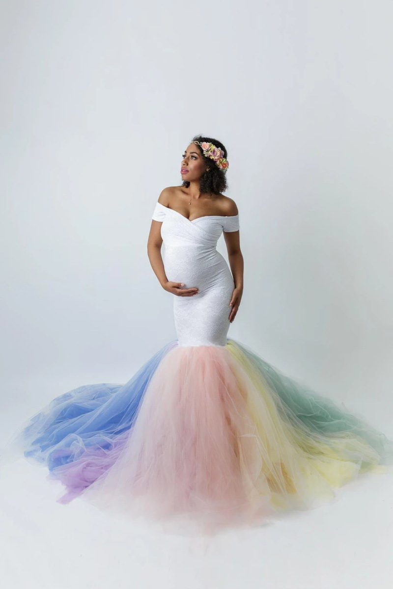 Lace Maternity Photography Props Dresses Rainbow Mesh Pregnancy Dress Long Pregnant Women Maxi Maternity Gown For Photo Shoots (3)