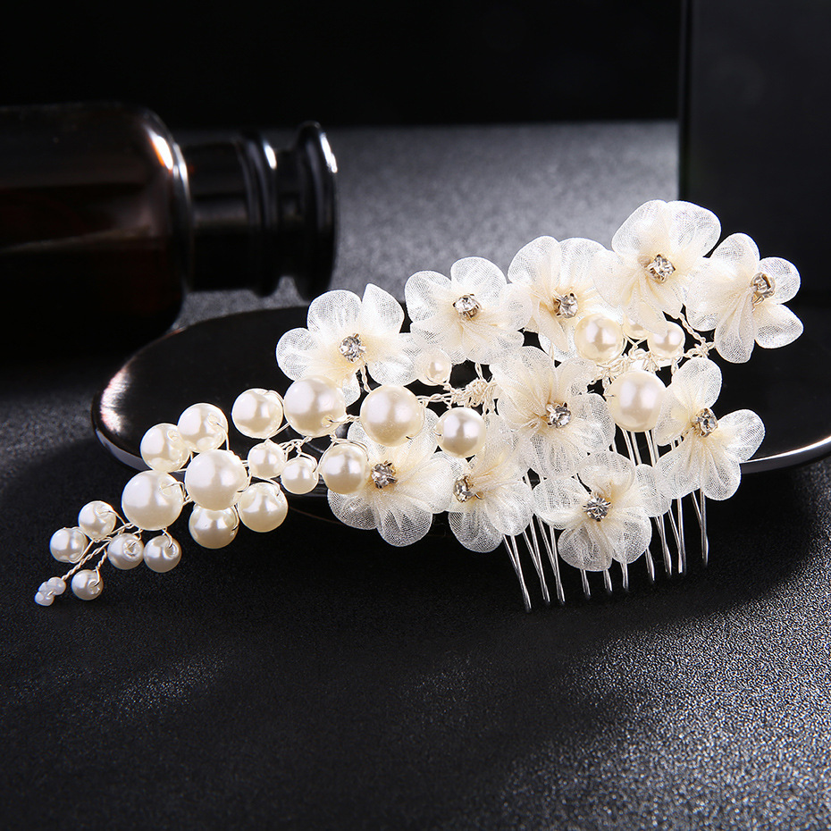Wedding Peals Hair Combs For Women Ivory White Lace Flowers Hair For Bride Fashion Hair Headdress Accessories FS121