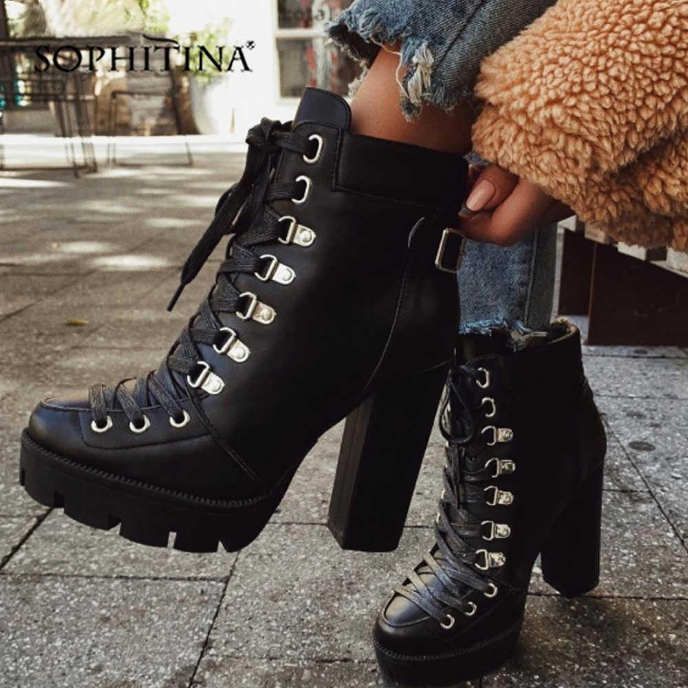 SOPHITINA su geçirmez Platform yarım çizmeler dantel-up moda rahat 12cm yüksek kare topuk kadın ayakkabı el yapımı bayan botları H1