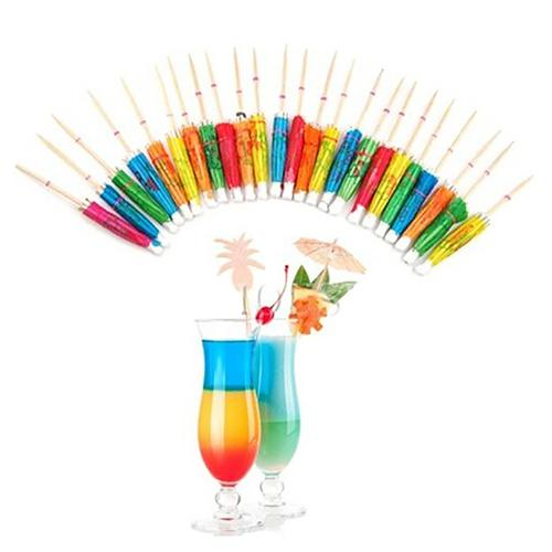 50Pcs Mixed Color Mini Umbrellas Parasol Snack Cocktail Pick Wooden Cocktail Toothpicks Decor Party Bar Home Decoration