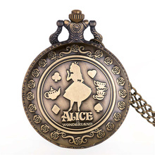 ¡Novedad! relojes de bolsillo de cuarzo de Alicia en el país de las Maravillas, collar analógico con colgante, reloj Fob