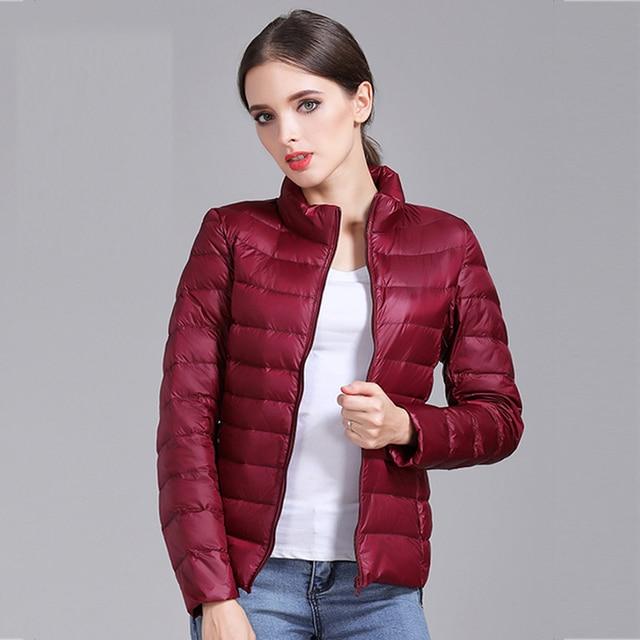 high quality 2019 New Autumn Winter Women Thin White Duck Down Jacket Parka Female Ultra Light Down Coat Short Tops Plus Size 6