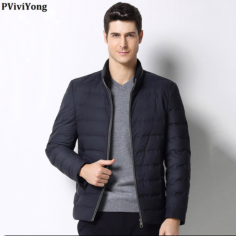 PViviYong 2019 Winter hoge kwaliteit witte eend donsjack mannen, mandarijn Kraag korte paragraaf rits parka Jas mannen 1690 - 4