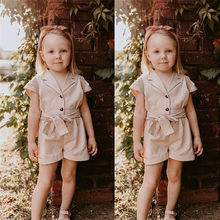 Fashion Toddler Baby Kid Girl England Style Jumpsuit Kids Summer Short Sleeve Show Waist Overalls Trousers Casual Loose Jumpsuit(China)