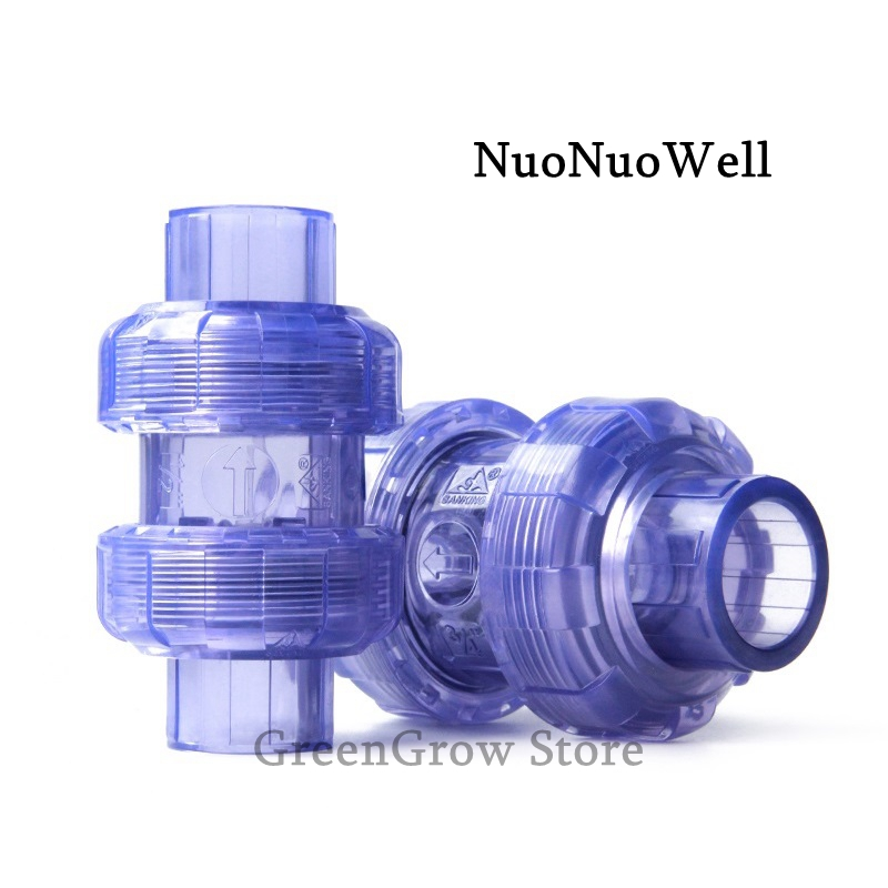 Specification : DN40 SUOFEILAIMU-VALVES UPVC Check Valve 20-63mm Double Union Non-Return Value Preventing Back Flow Water Pipe Valve Connectors