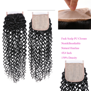 Image 4 - Klaiyi Hair Malaysia Curly Hair Bundles with Closure 4PCS Swiss Lace Closure With 3 Bundles Remy Human Hair Dark Black