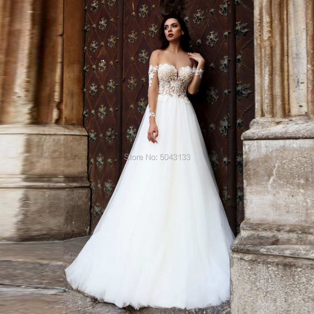 Sexy Sheer Scoop Neckline A Line Soft Tulle Wedding Dresses With Appliques Long Sleeve Backless Sweep Train Bride Wedding Gowns