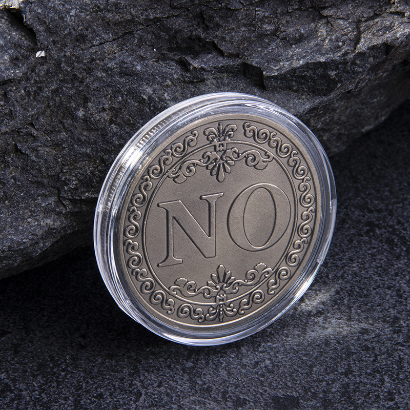 YES or NO Commemorative Coin Floral YES NO Letter Coin Classic Magic Tricks TOYS Lucky Coin(China)