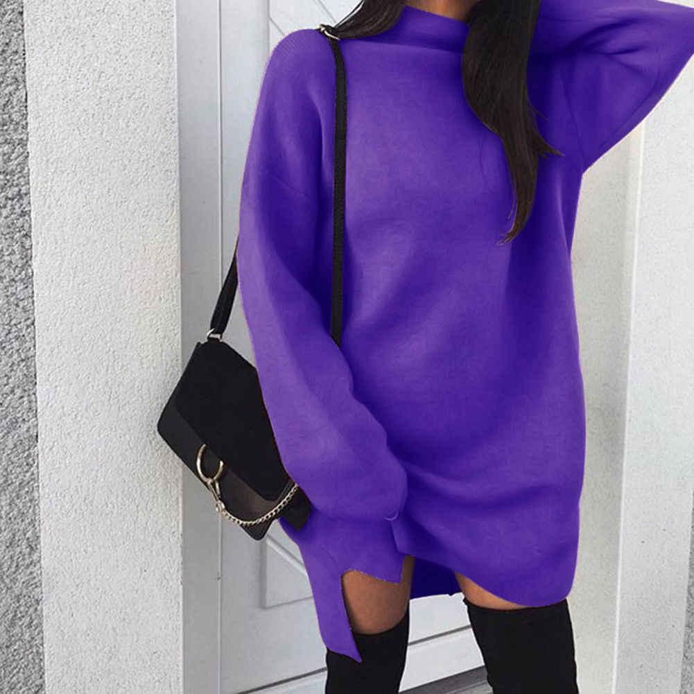 가을 겨울 따뜻한 긴 소매 여성 니트 스웨터 드레스 화이트 터틀넥 스웨터 풀오버 점퍼 여성 의류