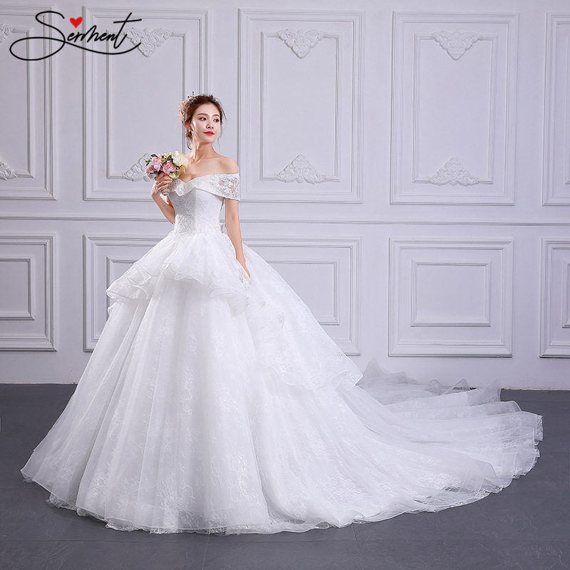 SERMENT Luxury White Silky Organza Wedding Dress Cathedral 100cmTail Suitable For Spring Summer Autumn Wedding Custom Large Size