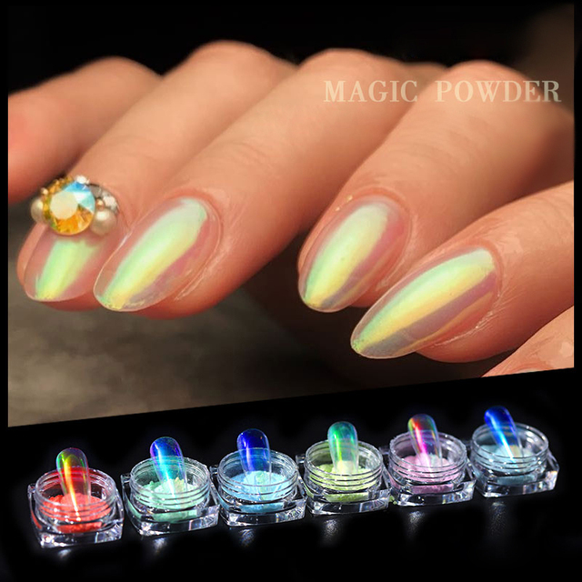 1Box Ice Transparent Pearly Fashion Pearl Mirror Powder Laser Glitter 0.2g Pigment Nail Art Decorations Dust for UV Gel