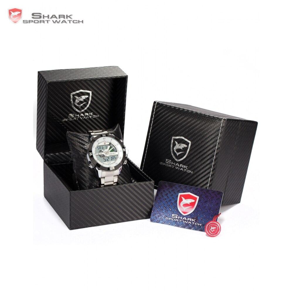 SHARK Sport Watch Dual Time Digital Steel Porbeagle Calendar Alarm Stopwatch Men Quartz Wristwatch /SH046/047