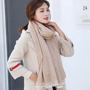 Image 3 - Bufanda de lana de Cachemira tejida, bufanda larga con calentador de Tessel, bufanda de moda para invierno, regalo de lujo para mujeres