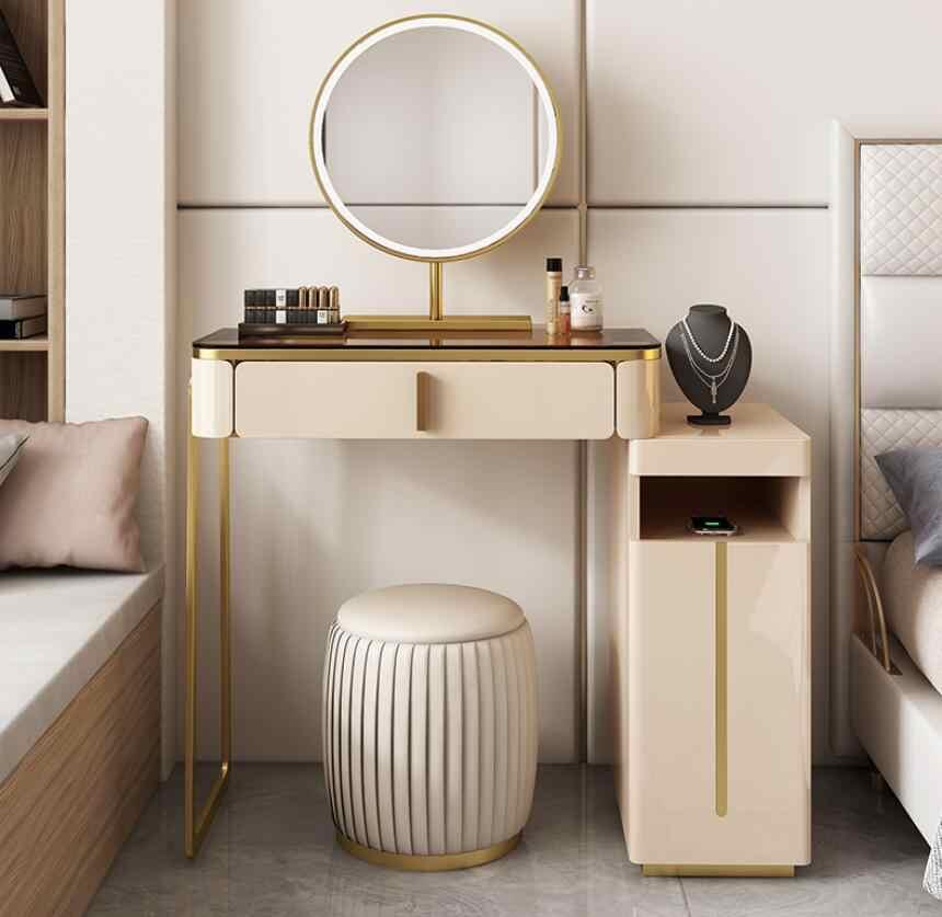 Ispirazione per una camera da letto moderna ed accogliente: Bedroom Net Red Ins Wind Modern Glass Dressing Table Mini Nordic High End Light Luxury Dressing Table Dressers Aliexpress