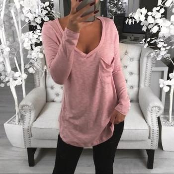 V-ncek Pocket t-shirty Damskie jednolity kolor Plus rozmiar z długim rękawem luźne pulowerowe Topy koszule Damskie Casual Topy dla kobiet Topy tanie i dobre opinie CN (pochodzenie) Zima Poliester Tees Pełna REGULAR Batik Stałe Women Solid V-Ncek Pocker Long Sleeve Pullover Shirt Tops