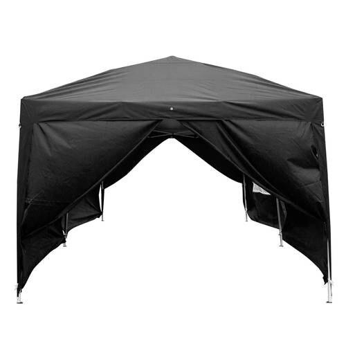 3 x 6m Four Windows Practical Waterproof Folding Tent Black - 4