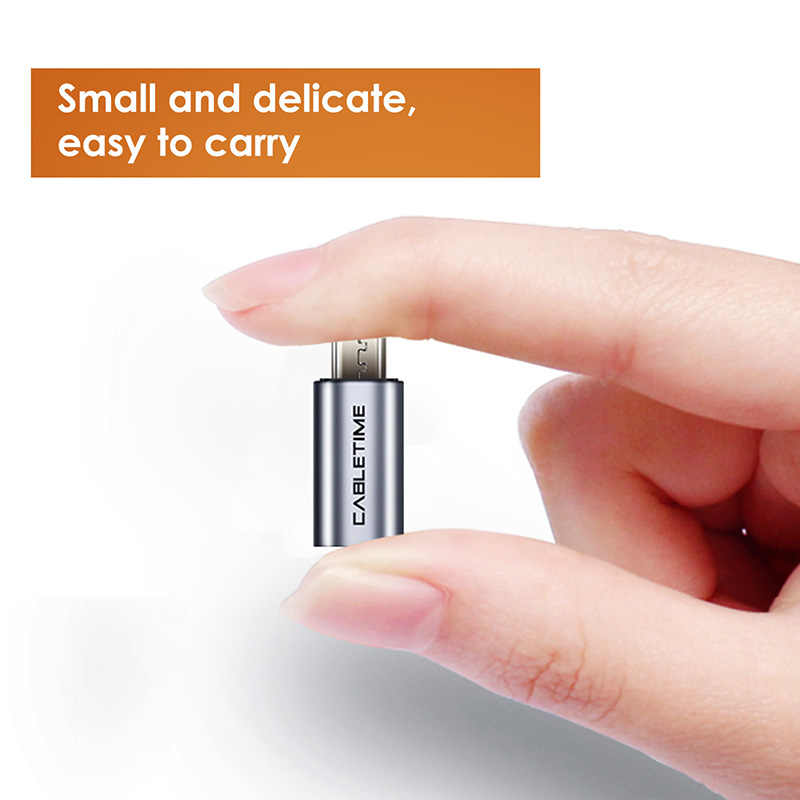 CABLETIME المصغّر USB إلى USB C الهاتف المحمول محول المصغّر USB محول موصل ل شاومي سامسونج غالاكسي هواوي USB نوع C C006