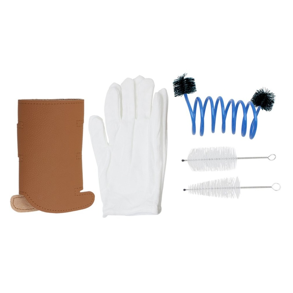 5 In 1 Trumpet Accessory Gloves Cleaning Brush Kit Protective Cover Case Synthetic Leather Care Cleaning Parts