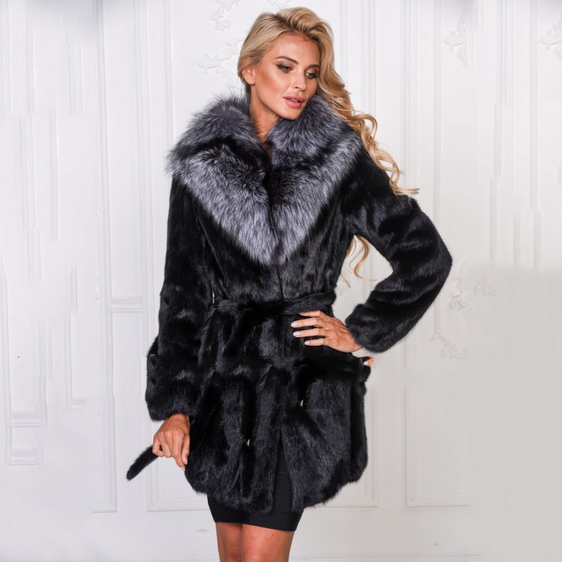 TOPFUR Black Luxury Natural Mink Fur Coat With Silver Fox Collar Customize Jacket Women Winter