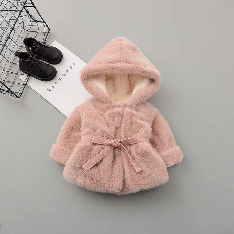 US Infant Baby Kid Girl Princess Warm Coat Fleece Jacket Tops Fur Hooded Outwear