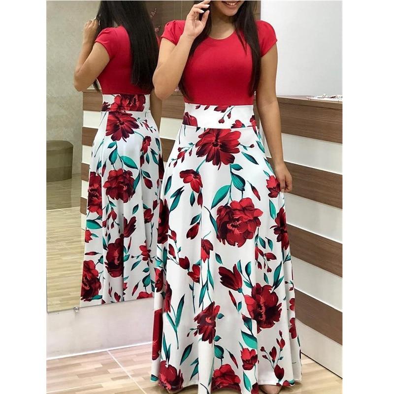 Spring Autumn For Women Dress 2020 Casual Long Sleeve O-neck Tunic  Patchwork Dresses Fashion Vintage Print Maxi Dress Vestidos