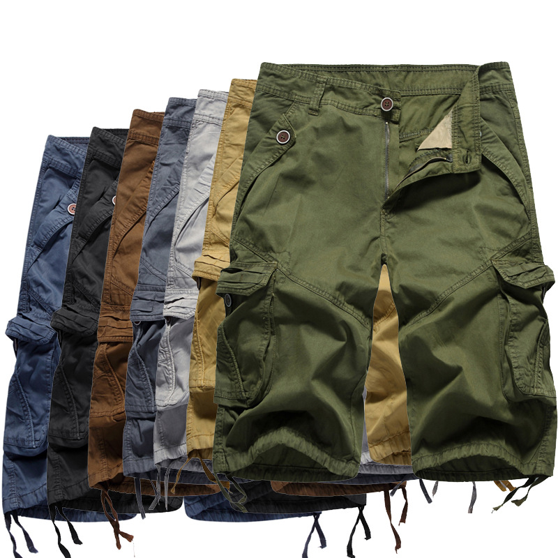 New Style Multi-color Workwear Shorts Large Size Multi-pockets Casual Straight-Cut 6 Points Pure Cotton Men's Middle Pants