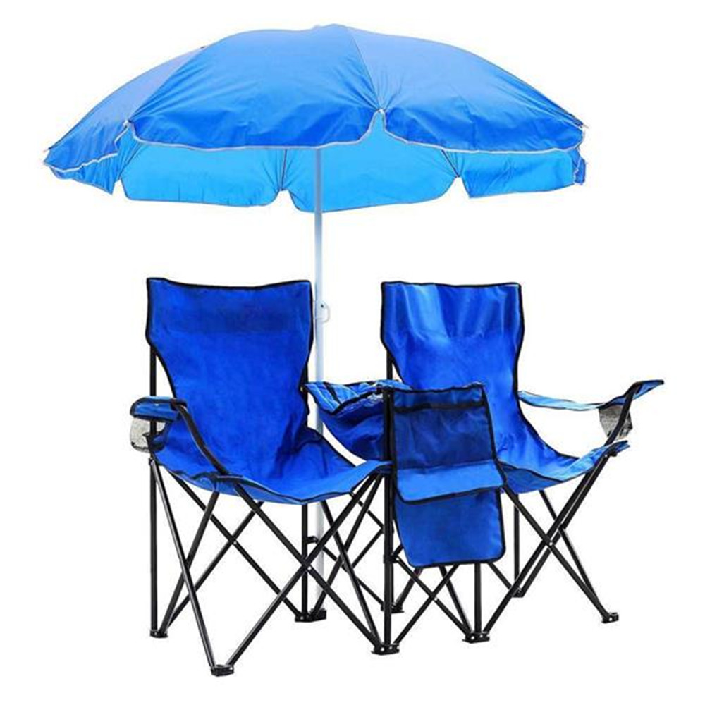 Portable Outdoor 2-Seat Folding Chair With Removable Sun Umbrella Blue Fishing Chair Sunbathing Chairs