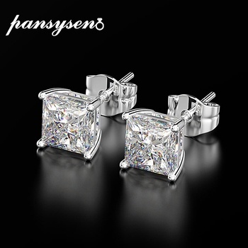 PANSYSEN Classic 6MM 7MM 8MM Square Created Moissanite Wedding Engagement Stud Earrings For Women 925 Silver Fine Jewelry Gifts - discount item  50% OFF Fine Jewelry